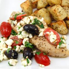 <3 Greek Salsa Chicken <3 Yummmy!!  I made this with pan roasted red potatoes that I cooked in olive oil, onions, dill weed and fresh minced garlic!!