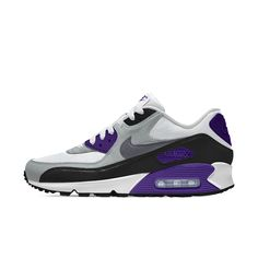 Nike Air Max 90 Mens Essential Id Blue Grey White Black Shoes Outlet Purple Sneakers, Air Max Sneakers, Sneakers Nike, Air Max 90, Nike Air Max, Grey And White, Blue Grey, Nike Co, Mens Essentials
