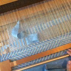 Reverse twill indigo rag rug by Hannah Kitt Handweaver