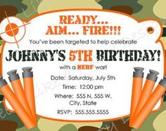 Custom Dart Gun and Camouflage Birthday Invitation, Blue Camo Invite, Camo Invite, Blue and Orange Camo Party, Camo Party Invitation Nerf Birthday Party, Nerf Party, Birthday Party Invitations, Boy Birthday, Birthday Ideas, Birthday Wishes, Birthday Cakes, Happy Birthday, Camouflage Party