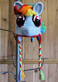Rainbow Dash Lil Pony hat crochet pattern on Ravelry
