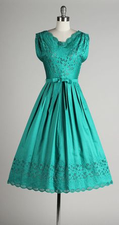 vintage 1950s dress . teal green brushed by millstreetvintage