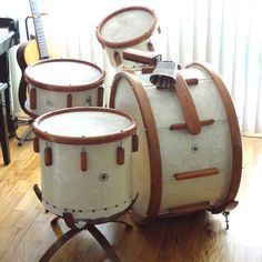 1943 Ludwig Victory kit in white marine pearl. ❣Julianne McPeters❣ no pin limits