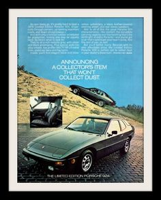 A full size color 1978 advertisement for the Porsche 924. The Special Edition in metallic grey with silver and black pinstriping. Sporting all the comforts of leather and quality to handle twisting mo