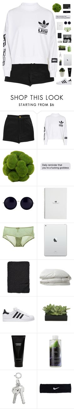 """""""sat, 02 Jan 2016"""" by cottonisth ❤ liked on Polyvore featuring Boohoo, adidas, Linda Farrow, Cosabella, Alicia Adams, Nimbus, Lux-Art Silks, Witchery, Korres and NIKE"""