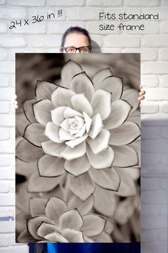 Large wall art  black and white photography- 24 x 36 poster size nature art photograph of succulent. $100.00, via Etsy.