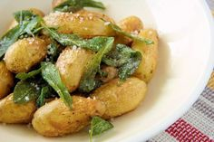 Roasted Fingerling Potatoes with Fried Sage - The Cautious Vegetarian