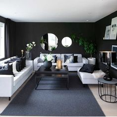 Exclusive monochrome home Table Decor Living Room, Living Room Themes, Living Room Sofa Design, Home Room Design, Living Room Grey, Living Room Sets, Rugs In Living Room, Home And Living, Living Room Designs