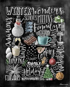 Winter Decor, Word Collage, Holiday Decor, Word Art, Chalkboard Art, Chalk Art, Winter Words, Christmas Decor, Subway Art, Happy Holidays #winter #word #art #ad #etsy #oybpinners