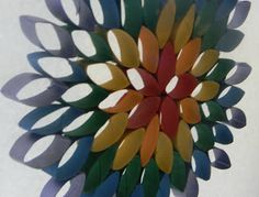 Pams Party & Practical Tips: Crafting With Kara - Hanging Rainbow Flower    ☀CQ #recycle #upcycle #repurpose #crafts #DIY