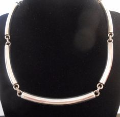 Sterling Silver Necklace Tube Tubular Links Curved 17