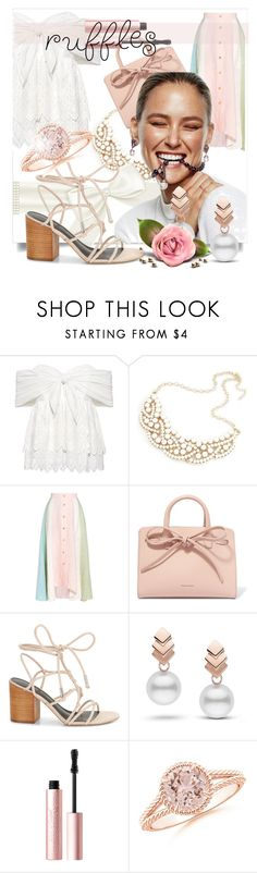 """Add Some Flair: Ruffled Tops"" by kari-c ❤ liked on Polyvore featuring Sea, New York, Peter Pilotto, Mansur Gavriel, Rebecca Minkoff, Escalier, Too Faced Cosmetics and ruffeldtops"