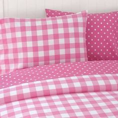 Pink gingham and polka dot bedding Polka Dot Bedding, Pink Bedding, Comforter Sets, King Comforter, Luxury Bedding, Bed Covers, Duvet Cover Sets, Pink Gingham, Pink Houses