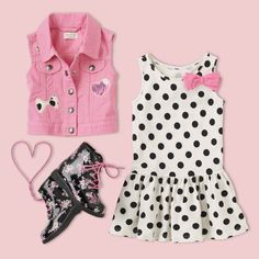 Toddler Girl Back to School Outfit | The Children's Place patch vest, polka dot dress and floral combat boots. Find everything she needs to build her back to school outfit for the first day and beyond!