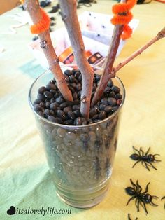 Last Minute Halloween Centerpiece! We made this with the kids last night and they had so much fun putting it together!