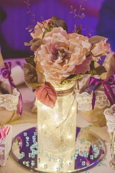 """wedding reception center pieces diy glitter mason jars with fairy lights and twine silk flowers 10"""" round mirrors and bead"""