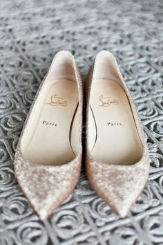 Christian Louboutin rose gold wedding flats