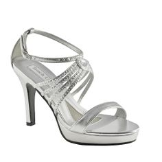 This elegant shoe features glittering ornamented straps across along the sides. The adjustable ankle strap ensures a secure fit, and the platform and heel provide some added height. Available Colors: Silver Metallic, Gold Metallic.