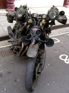 Dieselpunk bike. Photo by Benjamin Ransom, taken in Old City, Bristol, England. #motorcycle