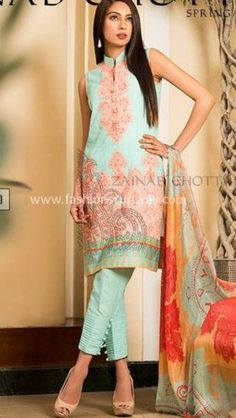 Light blue and red chiffon shirt with cigarette pant