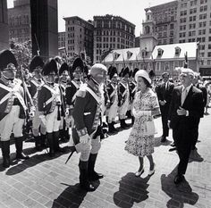 11 July 1976 ~ Mayor Kevin White escorts Queen Elizabeth II through Washington Mall in Boston on the way to City Hall ceremonies as Col. Vincent JR Kehoe, left, and his 10th Regiment of Foot, Chelmsford, guard the way. This was during her US trip on the occasion of the US Bicentennial. Photo by @globedavidlryan for Boston Globe