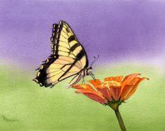 Impresión de una acuarela de libélula verde por maryellengolden