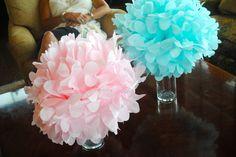 Tissue Poms in vases
