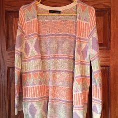 Pastel Tribal Aztec Cardigan I LOVE THIS CARDI but it's too small  perfect for spring! Super incredible quality-very thick & soft! Sweaters Cardigans