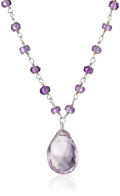 """Sterling Silver Amethyst Pendant Necklace, 16.5"""" Amazon Collection-$66.52 http://www.amazon.com"""