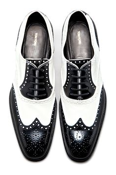 Tom Ford - Shoes black & white wingtips oxfords brogues