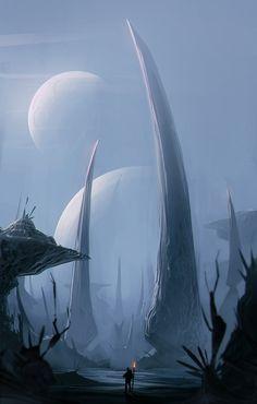 Image IMG 6281 in Fantasy album Fantasy Places, Sci Fi Fantasy, Fantasy World, Dark Fantasy, Science Fiction Art, Science Art, Fantasy Landscape, Landscape Art, Alien Planet