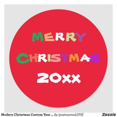 Modern Christmas Custom Year Cute Colorful Red Classic Round Sticker. Created by RjFxx *All right reserved. #ChristmasRoundSticker