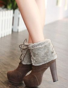 Elegant Nubuck Furry Lace Up Women's Chunky Heel Boots