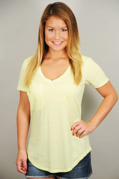 TOPS > Tees > Lime Yellow Soft Washed Cotton Pocket V-Neck