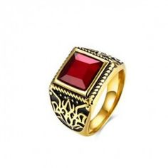 Men Fashion Ring Titanium Steel Square Red Stone Jewelry