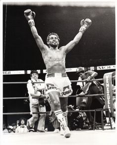 Hands of Stone, Roberto Duran with his arms in the air, celebrating just after the first fight with Sugar Ray Leonard had concluded.