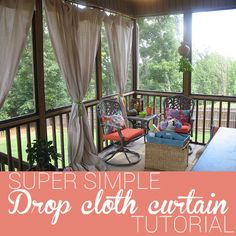 Add instant shade to your porch with this canvas drop cloth curtain tutorial - SUPER SIMPLE!