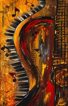 Guitar Art Prints for Sale Modern Art and Abstract Prints, MUSIC Green Yellow Brown Glossy PRINT 8.5 x 17 Paper Print