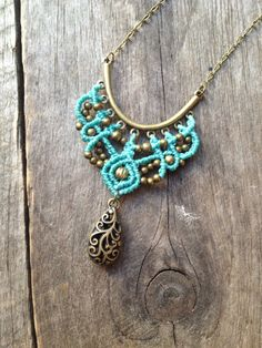 Micro macrame necklace in turquoise elven macrame pendant long chain antique bronze boho jewelry hippie