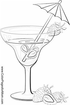 Two Glasses Of Wine Or Water Coloring Page