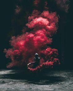 night ~ boy ~ smoke ~ red ~ dark