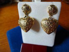Vintage Gold Tone Puffed Heart Pierced Earrings | SelectionsBySusan - Jewelry on ArtFire