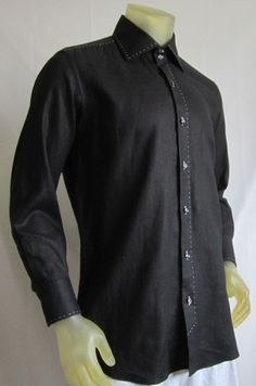 Domenico Vacca Custom Men's Designer Shirt Black Linen Slim Italy 16 1/2  32 #DomenicoVacca