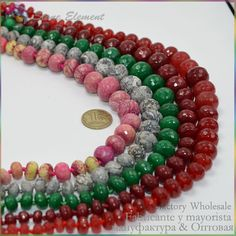 Red Jade / Pink Network Jasper / Natural Crazy Agate Stone Faceted Rondelle Beads Necklace