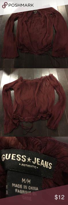 ❤️ GUESS JEANS - Maroon Sheer Dress Top ❤️ Size M ❤️ GUESS JEANS - Maroon Sheer Dress Top ❤️ Size M -  Super cute! I bundle items :) 💓💓Final Markdown💓💓 Guess Tops Blouses