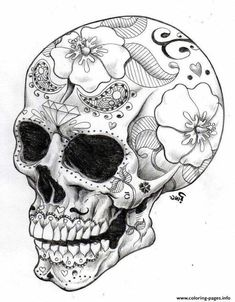 real sugar skull precision hd hard coloring pages printable and coloring book to print for free. Find more coloring pages online for kids and adults of real sugar skull precision hd hard coloring pages to print. Skull Coloring Pages, Coloring Book Pages, Printable Coloring Pages, Colouring, Tattoo Coloring Book, Coloring Sheets, Free Coloring, Tattoo Crane, Dragonfly Tattoo