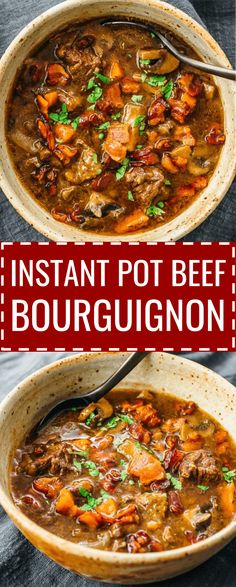 A classic gourmet French recipe made easy & simple via pressure cooking, this Instant Pot Beef Bourguignon with mushroom is a low carb & keto stew that you can serve for a crowd at a dinner party. It's gluten free, healthy, and uses red wine but you can go without wine to make it paleo and whole 30. #lowcarb #instantpot #beef #keto / julia child / sides / quick / instapot / soup / traditional
