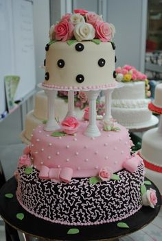 Black, Pink and White cake