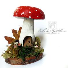 Paper Mache Toadstool House No. 2 by PixieHillStudio on Etsy
