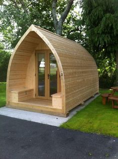 Loafing Shed Plans Tiny Cabins, Tiny House Cabin, Tiny House Living, Tiny House Design, Cabin Plans, Shed Plans, Arched Cabin, Tiny House Exterior, A Frame Cabin